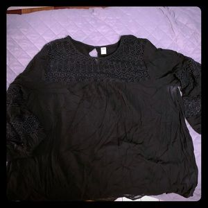 Black long sleeved blouse with lace